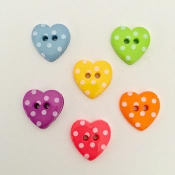 15mm Polkadot Heart Buttons