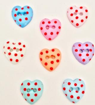15mm Red Spot Heart Buttons