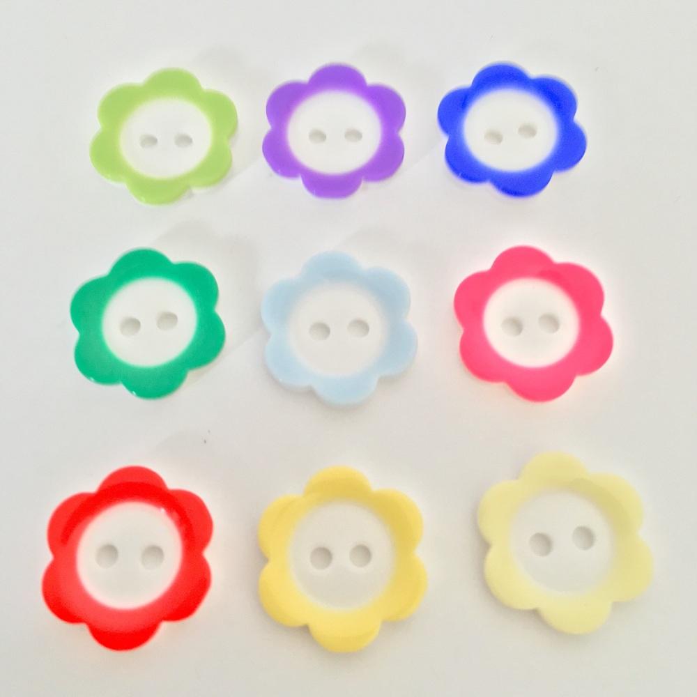 18mm Daisy Flower Rim Buttons