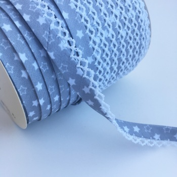 12mm Pre-Folded Star Bias Binding with Lace Edge - Grey