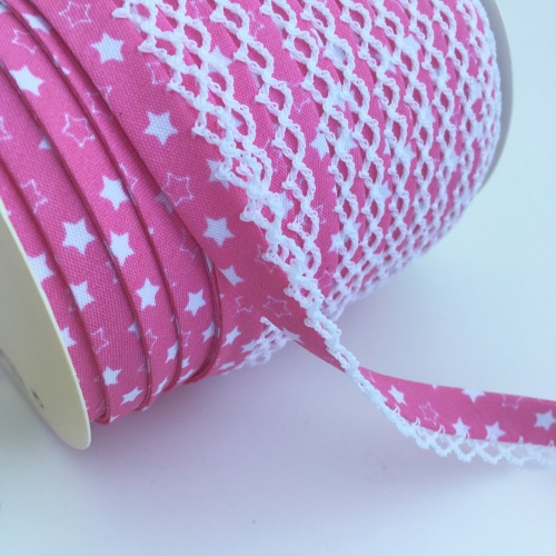 12mm Pre-Folded Star Bias Binding with Lace Edge - Candy Pink