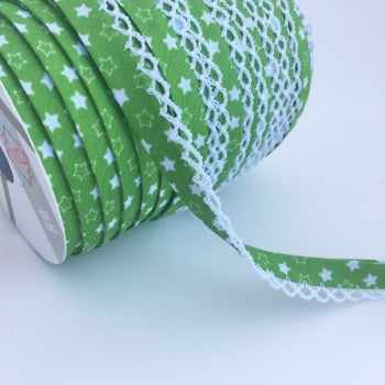 12mm Pre-Folded Star Bias Binding with Lace Edge - Green