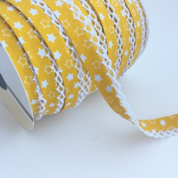 12mm Pre-Folded Star Bias Binding with Lace Edge - Yellow
