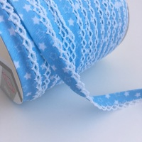 12mm Pre-Folded Star Bias Binding with Lace Edge - Baby Blue
