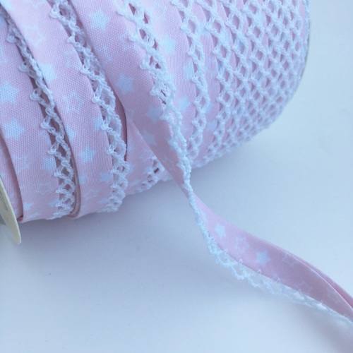 12mm Pre-Folded Star Bias Binding with Lace Edge - Baby Pink