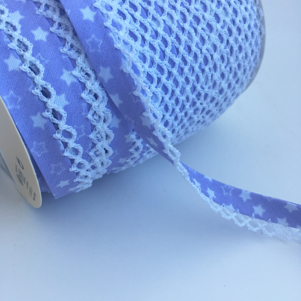 12mm Pre-Folded Star Bias Binding with Lace Edge - Lilac