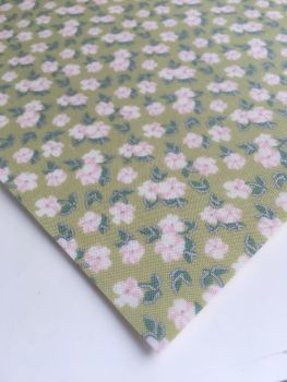 Lecien La Conner Metallic - Mini Florals Sage - Felt Backed Fabric