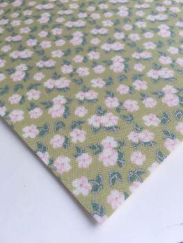 Lecien La Conner Metallic - Mini Florals Sage - Felt Backed Fabric