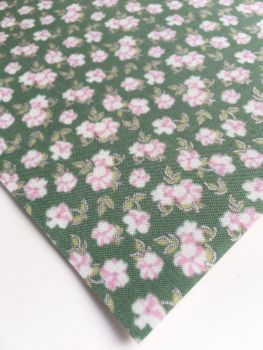 Lecien La Conner Metallic - Mini Florals Evergreen - Felt Backed Fabric