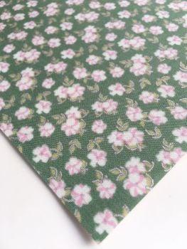 Lecien La Conner Metallic - Mini Florals Evergreen - Felt Backed Fabric