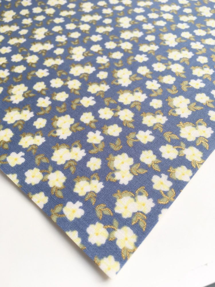 Lecien La Conner Metallic - Mini Florals Blueberry - Felt Backed Fabric