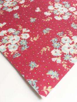 Lecien La Conner Metallic - Floral Bouquets Cranberry - Felt Backed Fabric