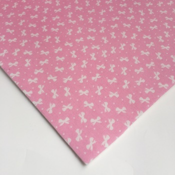 Ditsy Bows - Pink - Felt Backed Fabric