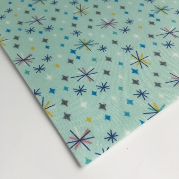 Lewis and Irene So Darling! - Retro Stars on Mint - Felt Backed Fabric