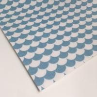 Mod Scallops  - Blue - Felt Backed Fabric