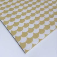Mod Scallops - Yellow - Felt Backed Fabric