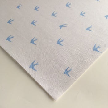 Chambray Swallows - Pale Blue on White - Felt Backed Fabric