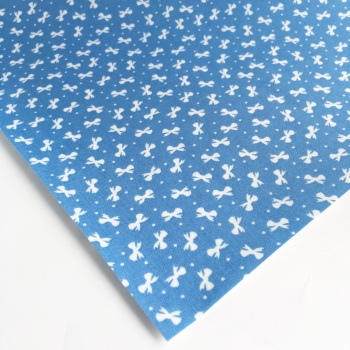 Ditsy Bows - Blue - Felt Backed Fabric