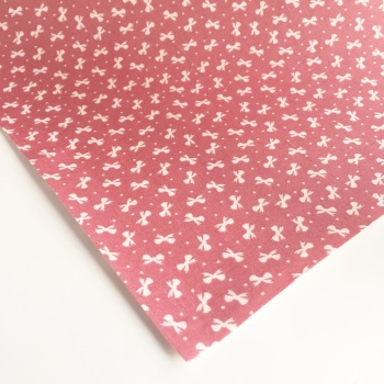 Ditsy Bows - Dusty Pink - Felt Backed Fabric