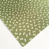 Ditsy Bows - Olive - Felt Backed Fabric