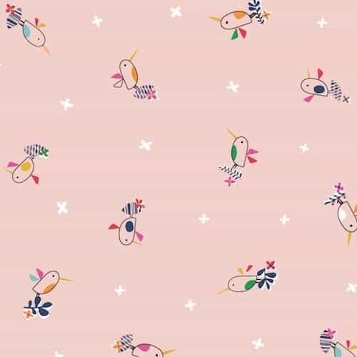 Club Tropicana by Dashwood Studio - Pink Birds - Felt Backed Fabric