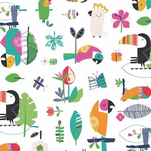 Club Tropicana by Dashwood Studio - White Birds - Felt Backed Fabric