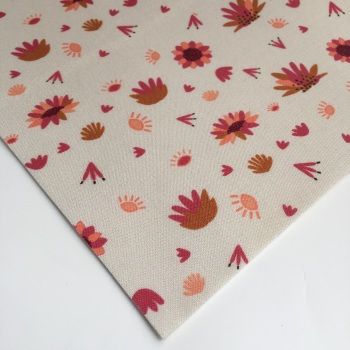 Serengeti by Dashwood Studio - Cream Flower - Felt Backed Fabric