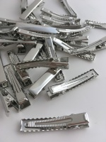 Silver Rectangle Alligator Hair Clips 4cm 40mm