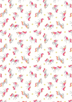 Lewis and Irene Small Things...Mystical and Magical - Unicorns on Cream (with gold metallic)