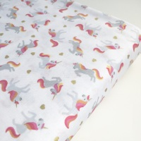 Lewis and Irene Small Things... Mystical and Magical - Unicorns on Cream (with gold metallic) - Felt Backed Fabric