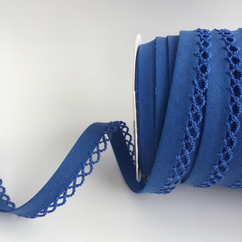 Royal Blue 12mm Pre-Folded Plain Bias Binding with Lace Edge