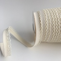 Ivory 12mm Pre-Folded Plain Bias Binding with Lace Edge