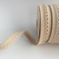 Natural 12mm Pre-Folded Plain Bias Binding with Lace Edge
