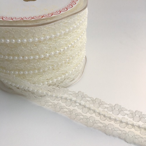 25mm Ivory Lace and Pearl Trim