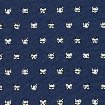 Robert Kaufman Whiskers and Tails - Navy Cats - Felt Backed Fabric