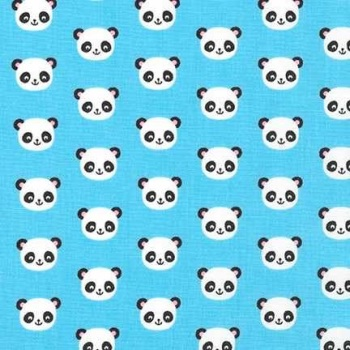 Robert Kaufman Urban Zoologie Minis - Panda Blue - Felt Backed Fabric