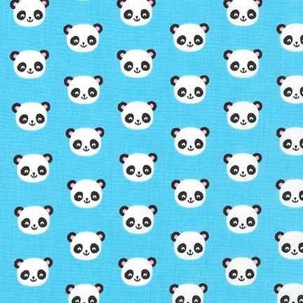 Robert Kaufman Urban Zoologie Minis - Panda Blue - Felt Backed Fabric