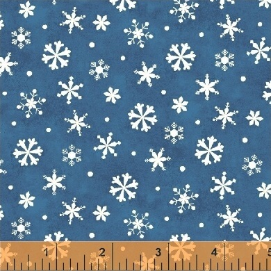 Winter Wishes By Windham - Snowflakes Blue - Felt Backed Fabric