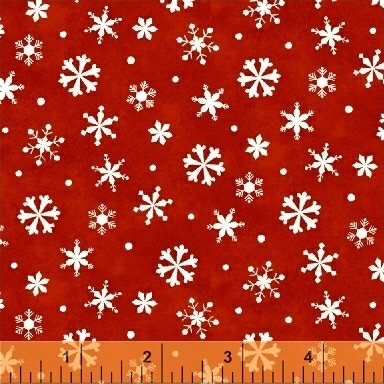 Winter Wishes By Windham - Snowflakes Red - Felt Backed Fabric