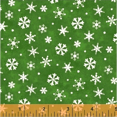 Winter Wishes By Windham - Snowflakes Green - Felt Backed Fabric