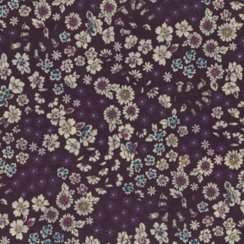 Frou Frou - Fleuri 8 Prune Delicate - Felt Backed Fabric