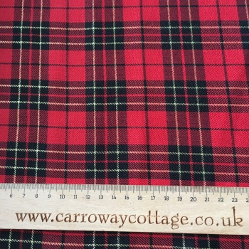 Tartan - Metallic Red - Felt Backed Fabric