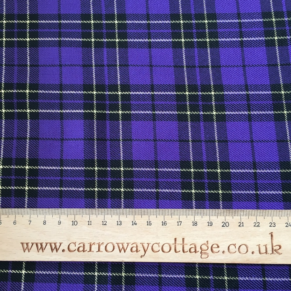 Tartan - Metallic Purple - Felt Backed Fabric