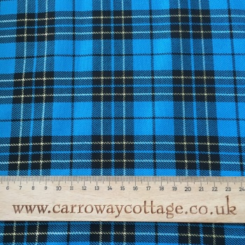 Tartan - Metallic Blue - Felt Backed Fabric