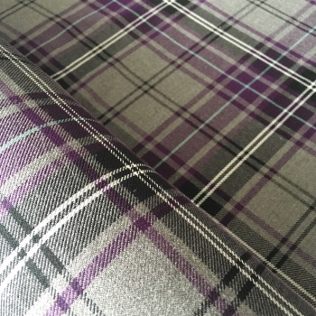 Polyviscose Tartan - Grey and Purple Plaid