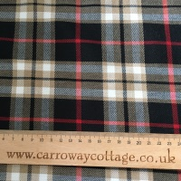 Tartan - Black and Beige Plaid - Felt Backed Fabric