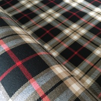 Polyviscose Tartan - Black and Beige Plaid