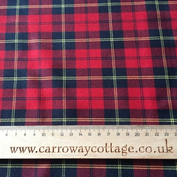Tartan - Red, Navy and Yellow - Felt Backed Fabric