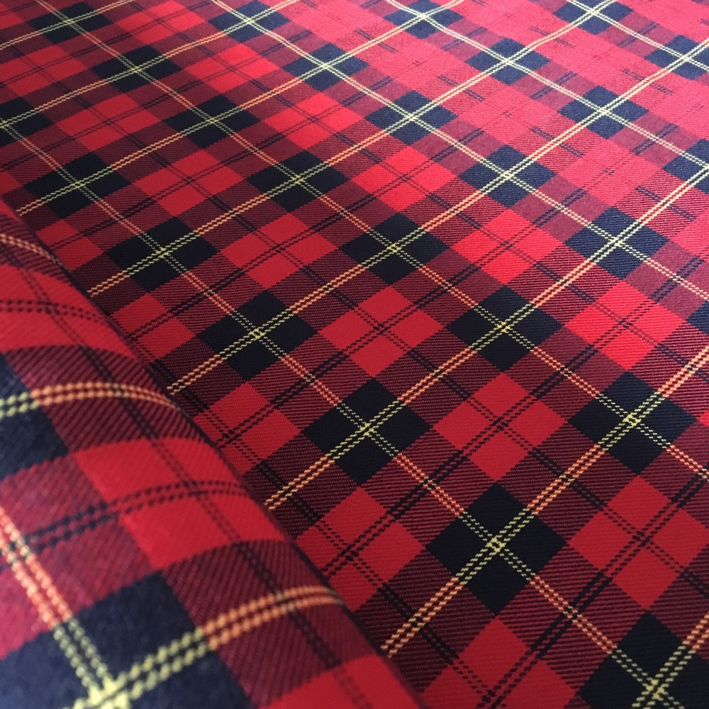 Polyviscose Tartan - Red, Navy and Yellow