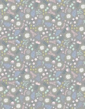 Lewis and Irene Fairy Lights - Magical Flowers on Grey - Felt Backed Fabric - Glow in the dark